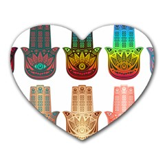 Evil Eye Protection Charm Colorful Heart Mousepads