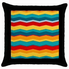 Retro Colors 60 Background Throw Pillow Case (black)
