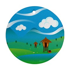 Landscape Nature Mountain Field Ornament (round)