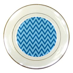 Blue Chevron Background Abstract Pattern Porcelain Plates