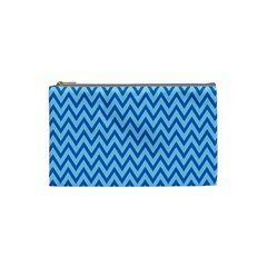 Blue Chevron Background Abstract Pattern Cosmetic Bag (small)