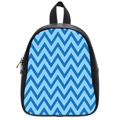 Blue Chevron Background Abstract Pattern School Bag (small)