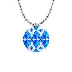 Blue Background Cubes Abstract Wallpapers 1  Button Necklace