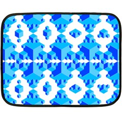 Blue Background Cubes Abstract Wallpapers Fleece Blanket (mini)