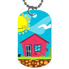 Kawaii Caricature Sun Nature City Dog Tag (two Sides)