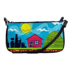 Kawaii Caricature Sun Nature City Shoulder Clutch Bag