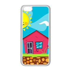 Kawaii Caricature Sun Nature City Apple Iphone 5c Seamless Case (white)