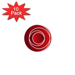 Background Circles Red 1  Mini Buttons (10 Pack)  by Wegoenart