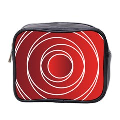 Background Circles Red Mini Toiletries Bag (two Sides) by Wegoenart