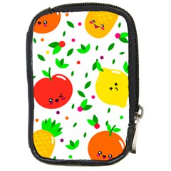 Pattern Fruit Fruits Orange Green Compact Camera Leather Case