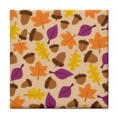 Acorn Autumn Background Boxes Fall Tile Coasters
