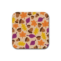 Acorn Autumn Background Boxes Fall Rubber Square Coaster (4 Pack)