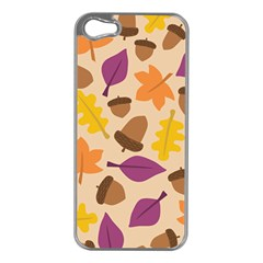 Acorn Autumn Background Boxes Fall Apple Iphone 5 Case (silver)