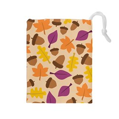 Acorn Autumn Background Boxes Fall Drawstring Pouch (large)