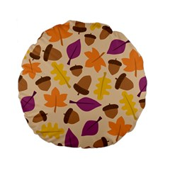 Acorn Autumn Background Boxes Fall Standard 15  Premium Flano Round Cushions