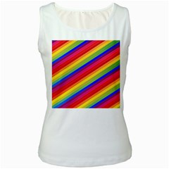 Rainbow Background Colorful Women s White Tank Top