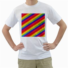 Rainbow Background Colorful Men s T Shirt (white) (two Sided)