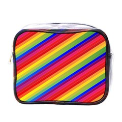 Rainbow Background Colorful Mini Toiletries Bag (one Side)