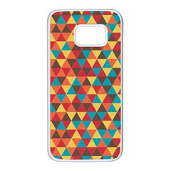 Background Triangles Retro Vintage Samsung Galaxy S7 White Seamless Case