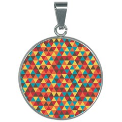 Background Triangles Retro Vintage 30mm Round Necklace by Wegoenart