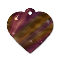 Space Orbs Stars Abstract Sky Dog Tag Heart (one Side) by Wegoenart