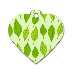 Autumn Background Boxes Green Leaf Dog Tag Heart (two Sides)
