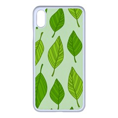 Autumn Background Boxes Green Leaf Apple Iphone Xs Max Seamless Case (white)