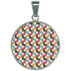 Background Abstract Geometric 30mm Round Necklace by Wegoenart