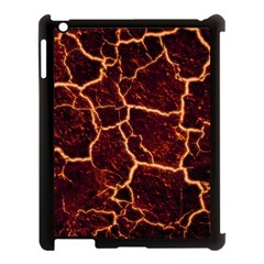 Lava Cracked Background Fire Apple Ipad 3/4 Case (black) by Wegoenart