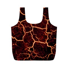 Lava Cracked Background Fire Full Print Recycle Bag (m)