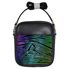 Abstract Background Rainbow Metal Girls Sling Bag