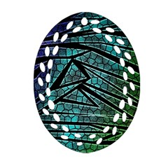 Abstract Background Rainbow Metal Ornament (oval Filigree)