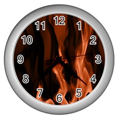Smoke Flame Abstract Orange Red Wall Clock (silver)