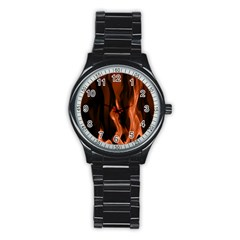 Smoke Flame Abstract Orange Red Stainless Steel Round Watch