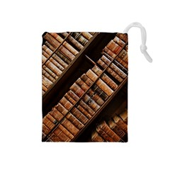 Books Bookshelf Classic Collection Drawstring Pouch (medium)