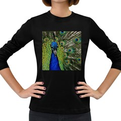 Peacock Close Up Plumage Bird Head Women s Long Sleeve Dark T Shirt
