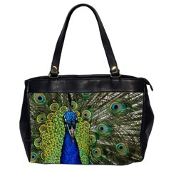 Peacock Close Up Plumage Bird Head Oversize Office Handbag (2 Sides)