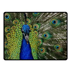 Peacock Close Up Plumage Bird Head Double Sided Fleece Blanket (small)