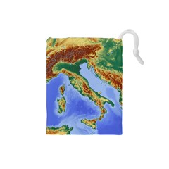 Italy Alpine Alpine Region Map Drawstring Pouch (small)