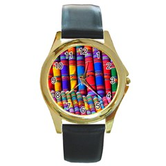 Substances Colorful Towels Scarf Round Gold Metal Watch