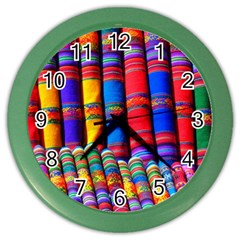 Substances Colorful Towels Scarf Color Wall Clock