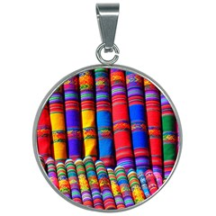 Substances Colorful Towels Scarf 30mm Round Necklace by Wegoenart