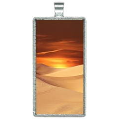 Desert Sun Landscape Sunset Dune Rectangle Necklace