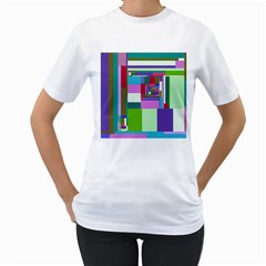 Fractal Gradient Colorful Infinity Art Women s T Shirt (white) (two Sided)