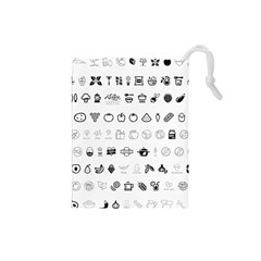Vegan Vegetarian Icons Food Eat Drawstring Pouch (small)