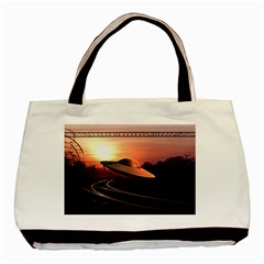 Fractal Mandelbulb 3d Ufo Invasion Basic Tote Bag by Wegoenart