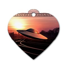 Fractal Mandelbulb 3d Ufo Invasion Dog Tag Heart (two Sides)
