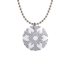 Snowflake Silhouette Fractal 1  Button Necklace