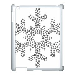 Snowflake Silhouette Fractal Apple Ipad 3/4 Case (white) by Wegoenart