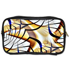 Pattern Fractal Gold Pointed Toiletries Bag (two Sides) by Wegoenart
